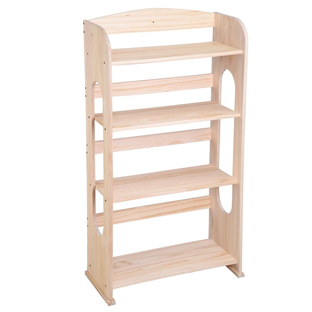 Yescom 4 Tier Wood Bookcase Bookshelf Hollow Out Storage Organizer Display Shelving Natural Wood Color Furniture
