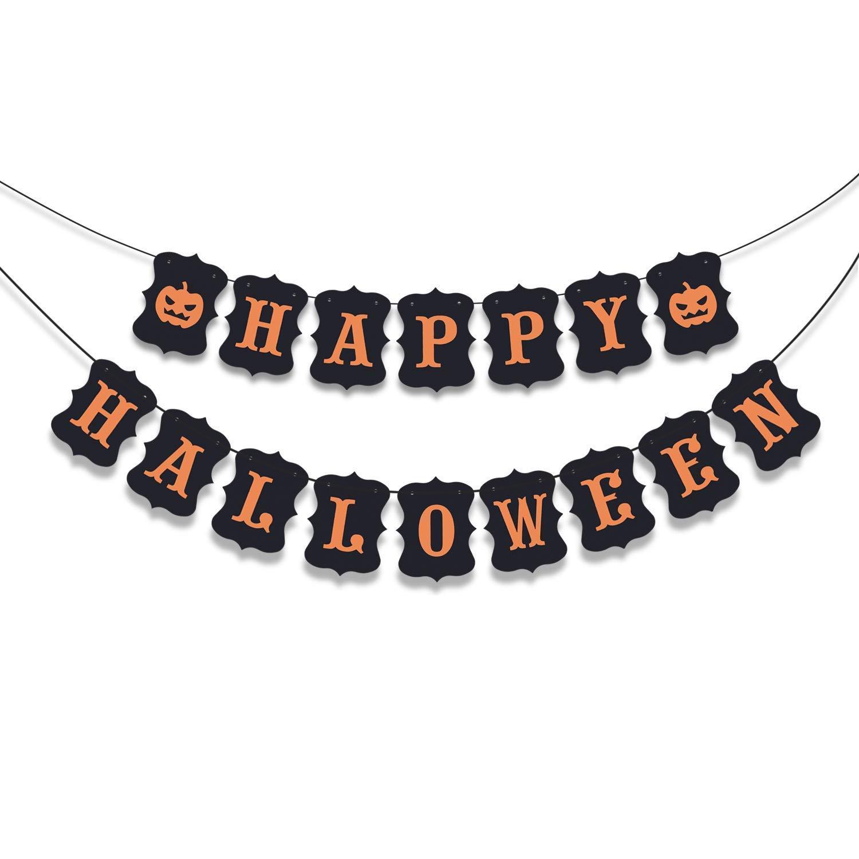 KEZAY Black Happy Halloween Banner Bunting with Pumpkin Sign for Halloween Theme Party Decor Door Cover Garden Decorations