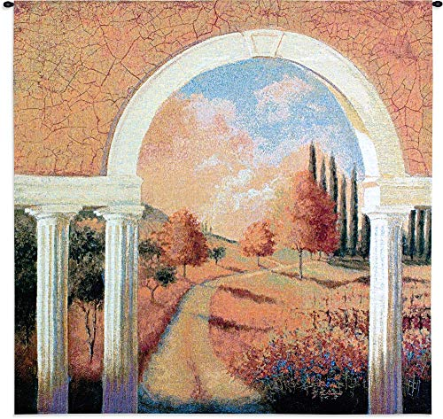 Fine Art Tapestries Tuscan Archway Hand Finished European Style Jacquard Woven Wall Tapestry USA 44X44