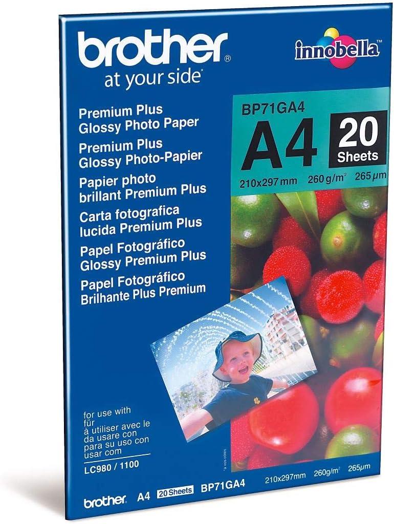 Brother BP71GA4 - Pack de 20 hojas de papel fotográfico Glossy ...
