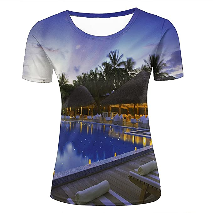para hombre T-shirt 3D Digital Pinted exotic resort in night Couple Tees Tops Q4YnSepT