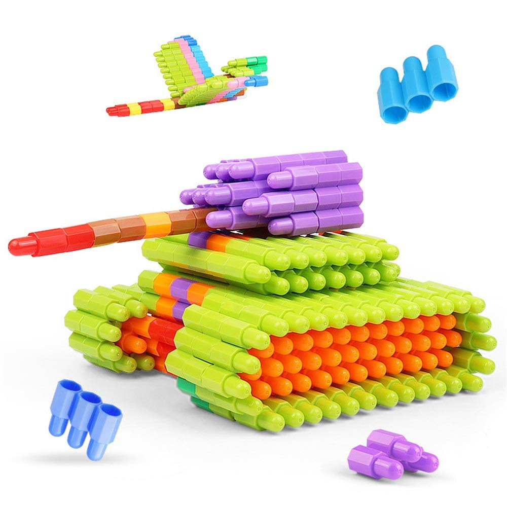 ZnMig Children 3-12 Years Old 400 Pieces of Bullets Building Blocks Plastic Spell Inserted Blocks Children's Toys Early Education Puzzle Building Blocks Toys (Color : Multi-Colored, Size : One Size)