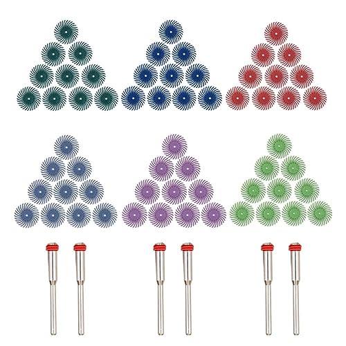 """Cepillo abrasivo para detalles - GOXAWEE 60pcs (1"""") Radial cerdas discos / Aaccesorios de herramientas rotativas para Pulido, Molienda, Lijado, Limpieza - Mixto grano: 80# 120# 220# 400# 600# 1000#"""