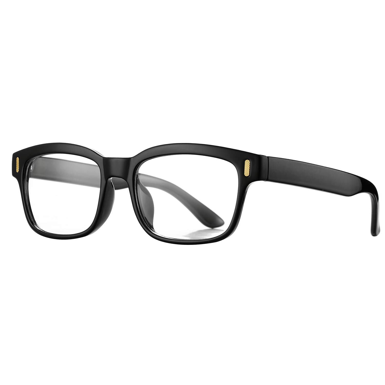 dfd9c2dba2 Amazon.com  Pro Acme Unisex Stylish Square Non-prescription Glasses Clear  Lens Eyewear (Black)  Clothing
