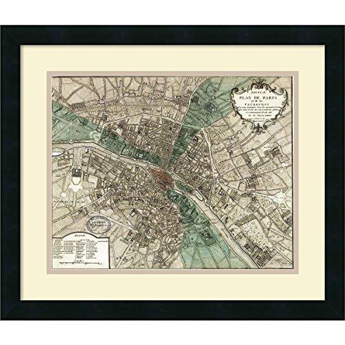 Plan Map Vintage (Framed Art Print, Plan de Paris' by Vintage Reproduction: Outer Size 21 x 18)
