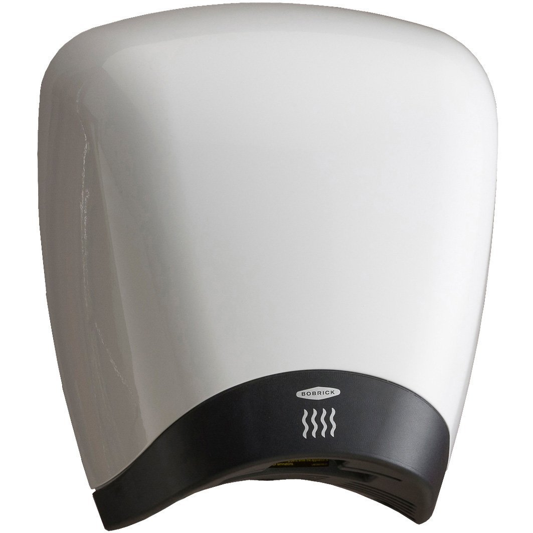 Bobrick B-770 QuietDry Surface Mounted High Speed Hand Dryer, No-Touch Operation, White High Gloss