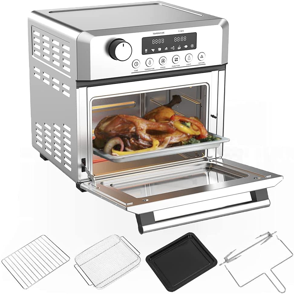 Air Fryer Toaster Oven Combo 19 QT Electric Airfryer Countertop Rotisserie Dehydrator, Convection Oven for Chicken, Pizza, Cookies, Bake, Broiler, Roaster, Toast, Accessories Included, 1500W, Silver