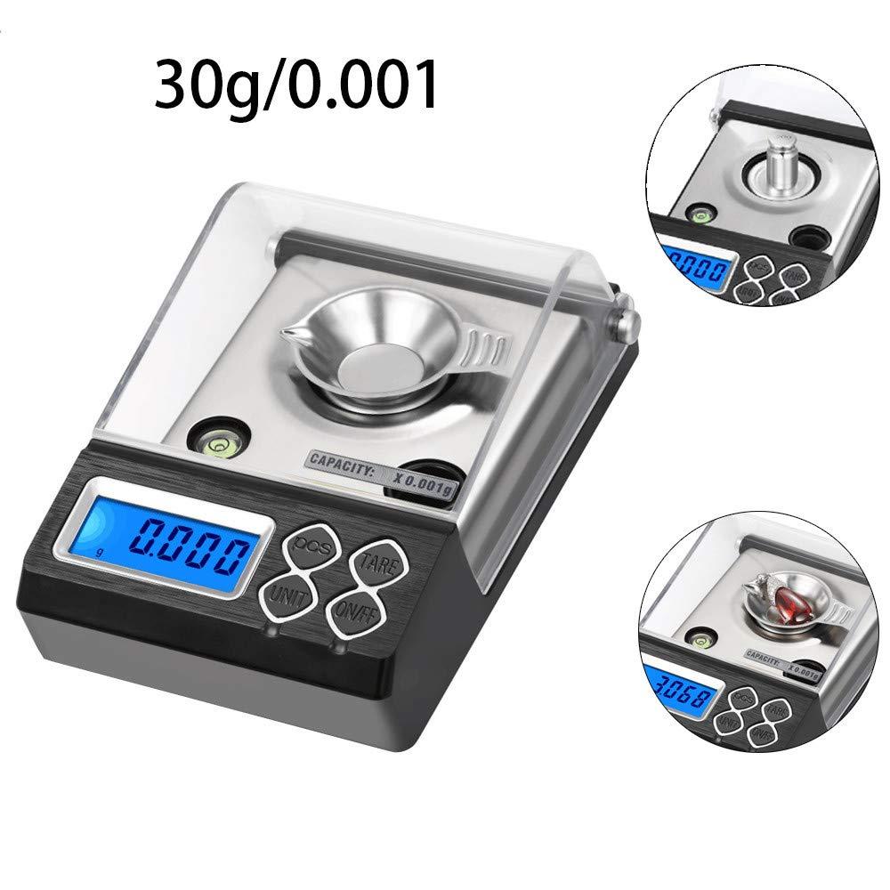 0.001 g de precisión joyería Digital electrónica Balance 0.001 g visualización LCD Peso Mini Pocket Escalas: Amazon.es: Hogar