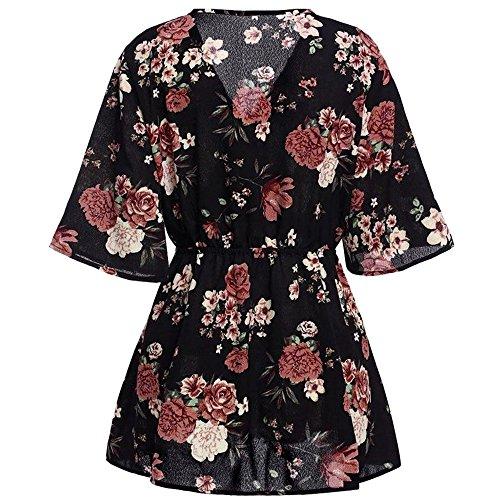 Sale! Dress SanCanSn Women Floral Plus Size Sexy V Neck Slim Fit Flare Loose Short Mini Dress for Summer(Black,2XL)