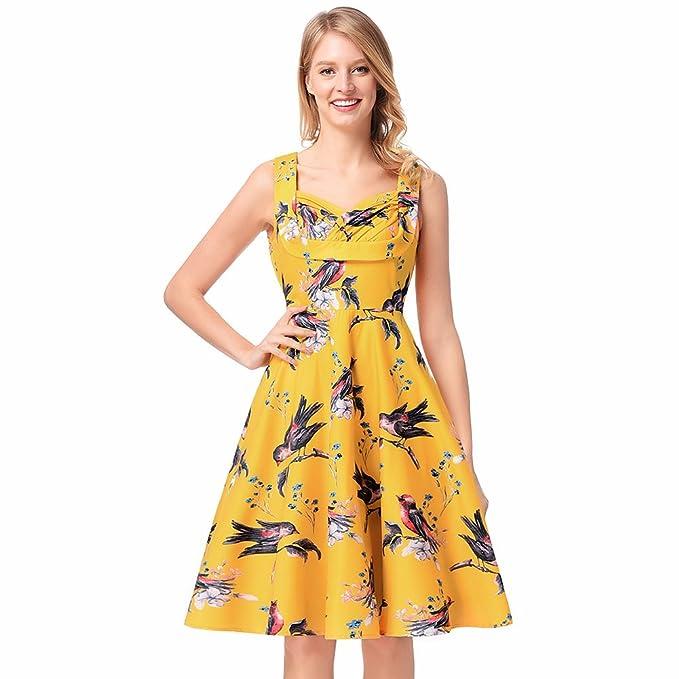 antaina Pájaros Amarillos Imprimen Vintage 1950S Una Línea Fiesta de Noche Plisada Vestido de Mujer,