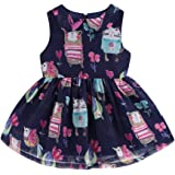LittleSpring Girls Sleeveless Vintage Dress Chiffon Cartoon Party Dress