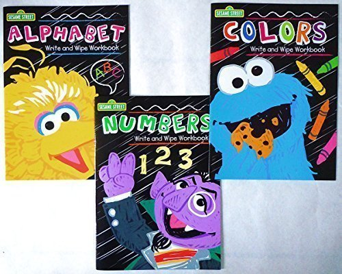 Activity Learning Early (Set of 3 Sesame Street Write and Wipe Workbooks (Alphabet, Numbers, & Colors))
