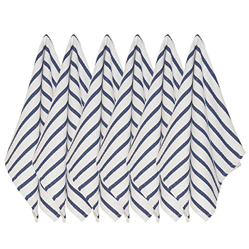 Now Designs Basketweave Kitchen Towel, Set of Six, Indigo Blue (Rag Striped)