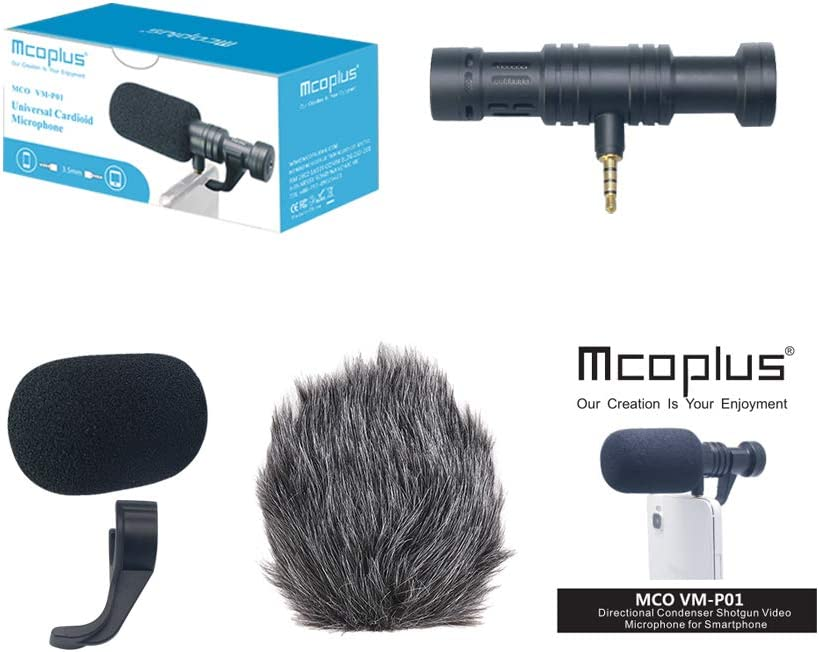 Mcoplus Smartphone Microphone VM-P01 Portable Photography Interview Mic Recording Compatible with Nikon//Canon Camera//DV Camcorder