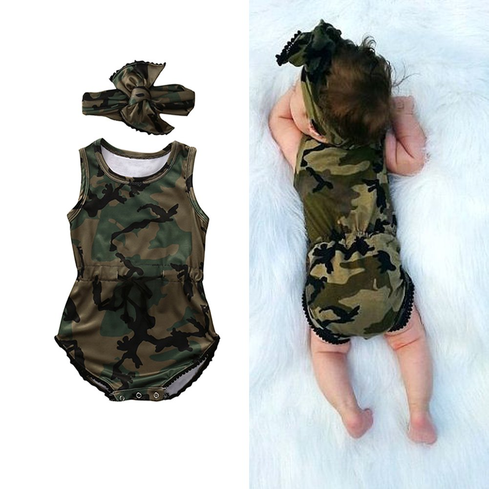 KIDSA 0-24M Infant Toddler Baby Boys Girls Romper Jumpsuit One-Pieces Camo Clothing Outfits Set with Headband