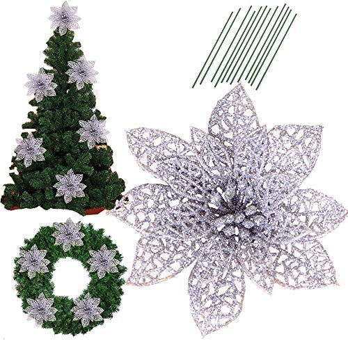 5.8 Inch Glitter Artifical Wedding Christmas Flowers Glitter Poinsettia Christmas Tree Ornaments Christmas Tree Decorations Pack of 12 (Silver)