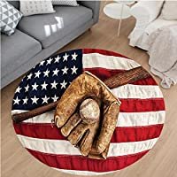 Nalahome Modern Flannel Microfiber Non-Slip Machine Washable Round Area Rug-age Baseball League Equipment With Usa American Flag Fielding Sports Theme Brown Red Blue area rugs Home Decor-Round 36