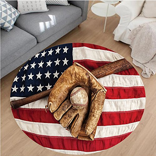 Nalahome Modern Flannel Microfiber Non-Slip Machine Washable Round Area Rug-Age Baseball League Equipment with USA American Flag Fielding Sports Theme Brown Red Blue Area Rugs Home Decor-Round - Rug Baseball Runner
