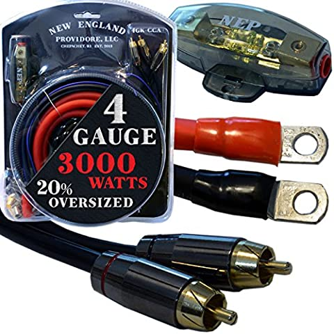 20 Foot 4 Gauge Amp Kit Featuring 20% Oversized Cables - Complete 12V Audio Amplifier Installation & Wiring (Lightning Audio Amp Wiring Kit)