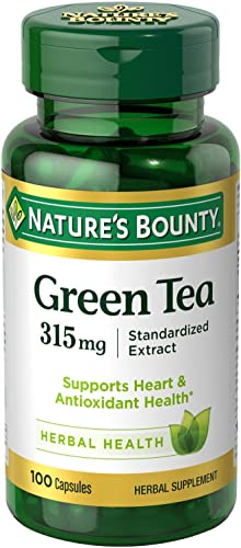 Nature s Bounty Green Tea Pills and Herbal Health Supplement, Supports Heart and Antioxidant Health, 315mg, 100 Capsules