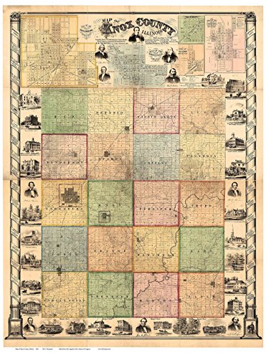 - Knox County Illinois 1861 - Wall Map with Homeowner Names Farm Lines Genealogy Old Map Reprint