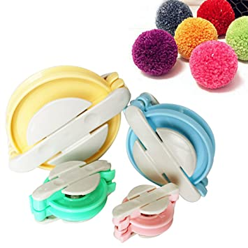 4 Piezas Plástico Pompón Hacedor por Curtzy - Maquinas de Pompones de 10, 8,