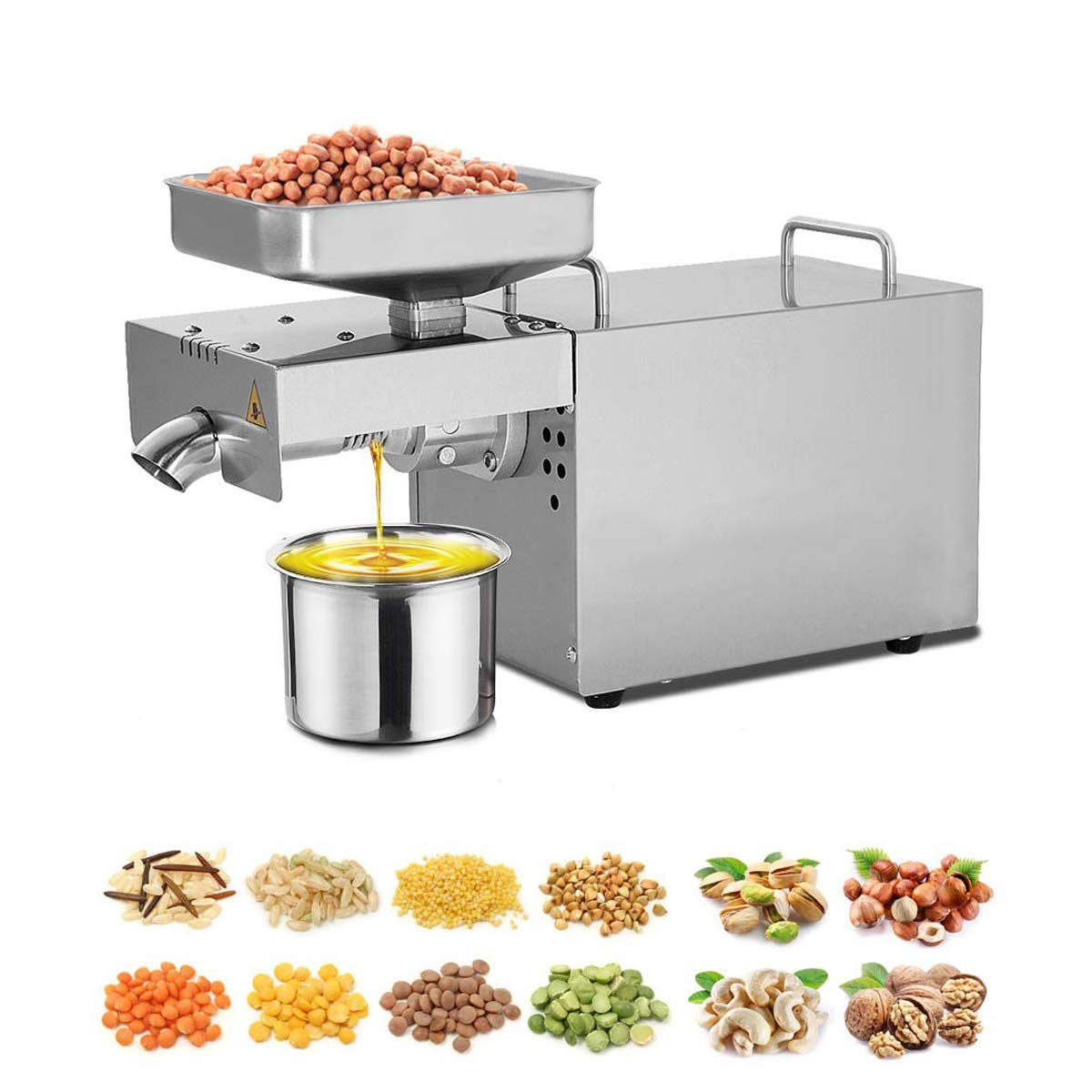 WooBrit Oil Press Machine Cold Hot Nuts Oil Expeller Commercial Home Automatic Food-Grade Stainless Steel Extractor for Peanut Seeds