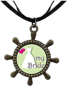 Chicforest Bronze Retro Style Heart My Bride Ship Steering Wheel Pendant