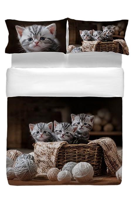 Ciuco Cocciuto Juego Funda Nórdica, algodón, Gato, 250 x 200, 3 Unidad