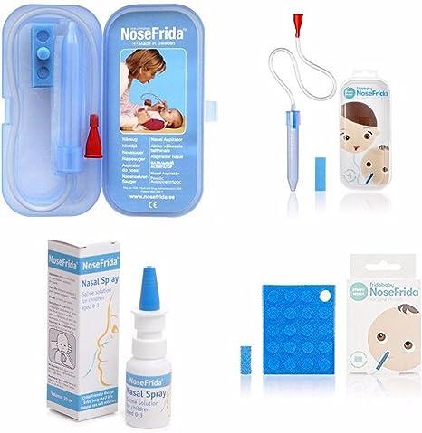 NoseFrida Baby Aspirador nasal y estuche X2 + 20 filtros adicionales + spray nasal.: Amazon.es: Bebé