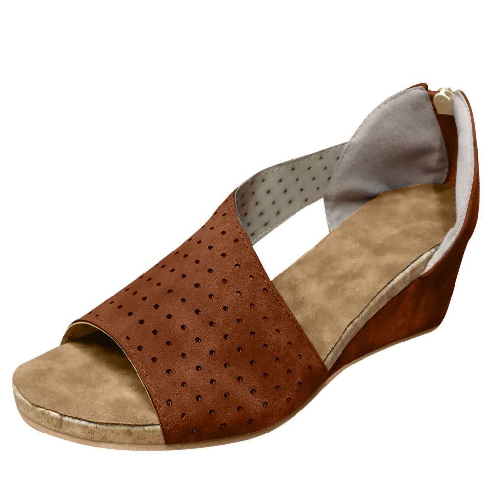 NDGDA Womens Fashion Wedges Shallow Mouth Peep Toe Beach Casual Shoes Roman Sandals