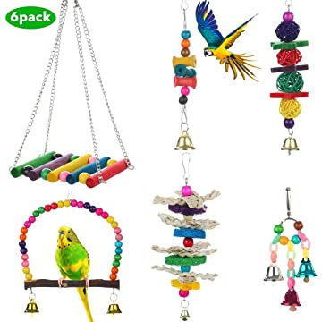 Bird Toys Parrot Bird Swing Toys with Colorful Wood Beads Bells and Wooden Pet Bird Cag Hammock Hanging Perch for Budgie Lovebirds Conures Parakeet Cages Decorative Accessories for Parakeets Cockatiel