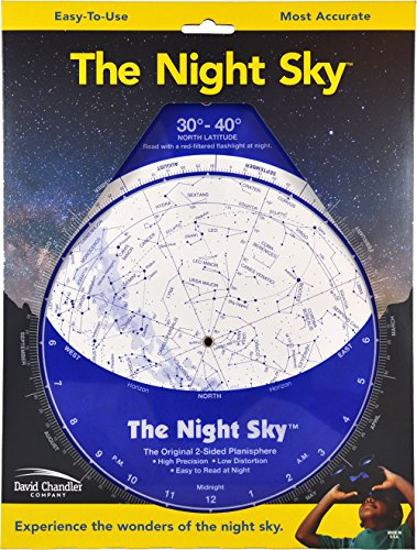 The Night Sky 30°-40° (Large; North Latitude) (Maps Constellation Charts Star)