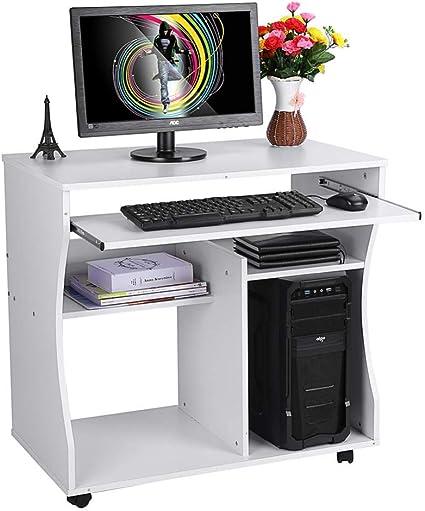 Bianco 100 x 45 x 76cm Scrivania per Studio Tavolo da Lavoro Scrivania Moderno con Borsa di Stoccaggio Telaio in Acciaio Resistente EBTOOLS Scrivania per Computer