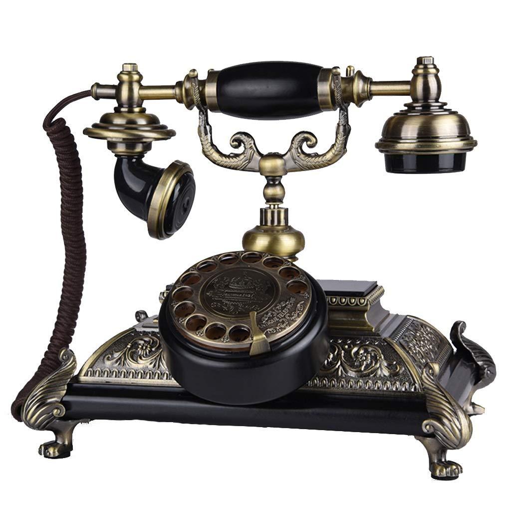 ビンテージ電話ロータリーダイヤル電話アンティークヨーロッパスタイルの純木電話固定電話   B07TSJ875G