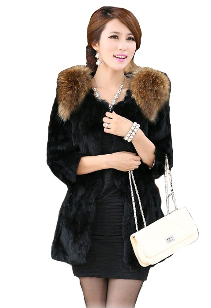 Queenshiny Long Women's 100% Real Genuine Rabbit Fur Coat Jacket with Raccoon Trim with Round Collar-Black-M(8-10) by Queenshiny