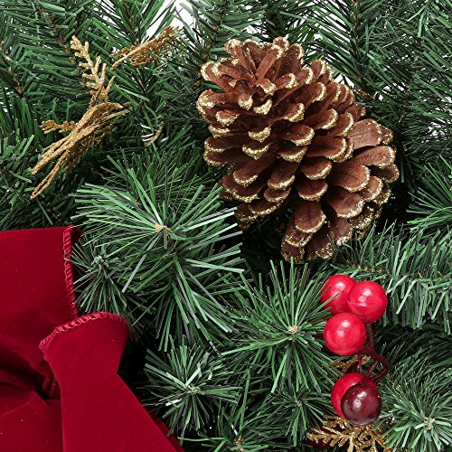 Home Accents Holiday 17 ft. Unlit Artificial Christmas Garland, Beautifully Decorated with Fabric Poinsettia, Red Berries, Gold Glitter Cedar Sprigs, Pinecones and Bow Center Accent by Home Accents Holiday (Image #4)