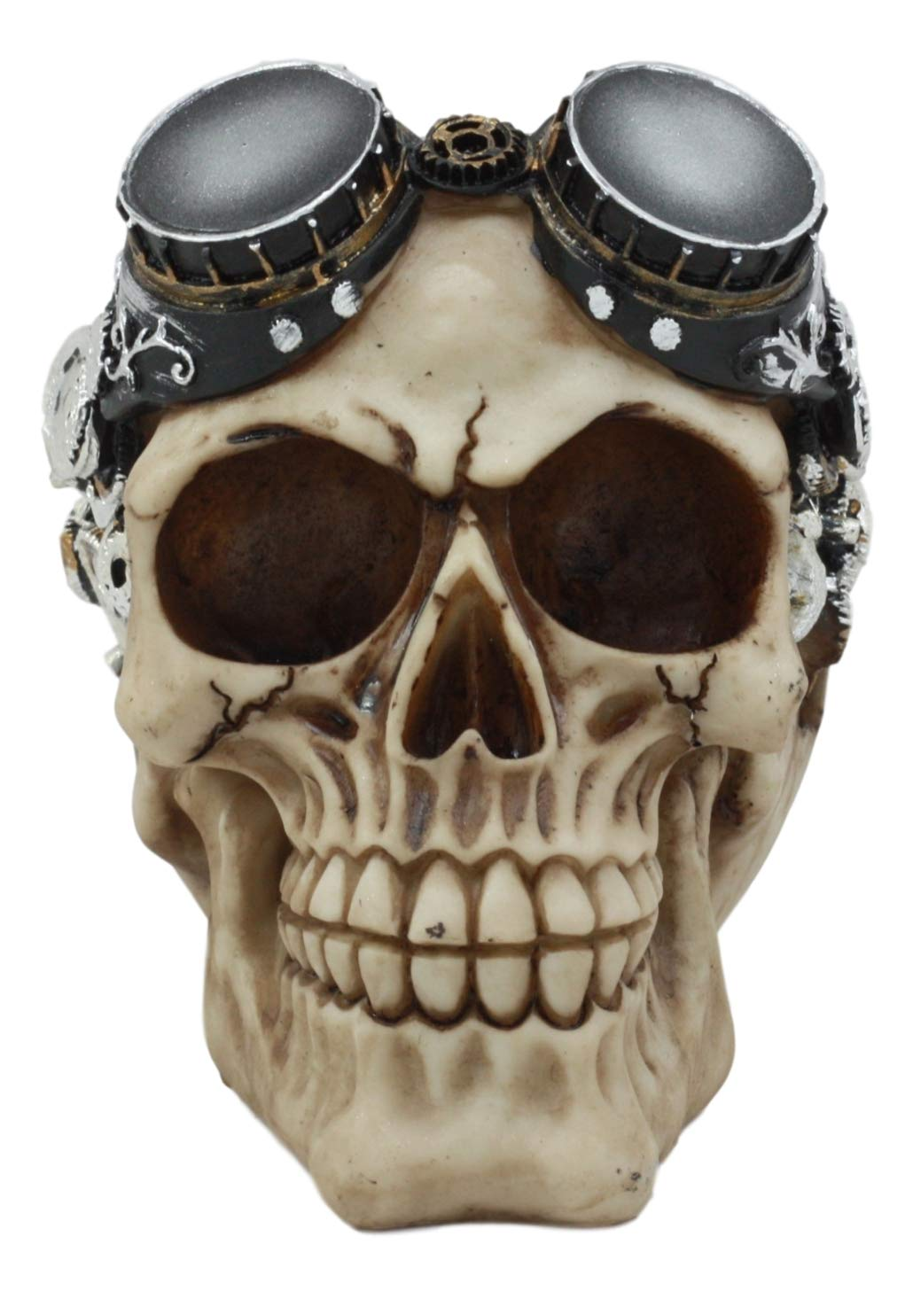 Ebros Steampunk Pilot Aviator Robotic Skull Statue Sci Fi Decor Figurine with Painted 3D Protruding Gearwork Mechanism Design 5