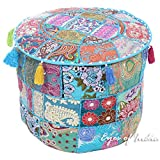 Eyes of India 17 X 12 Small Blue Round Pouf Pouffe Ottoman Cover Floor Seating Bohemian Boho Indian