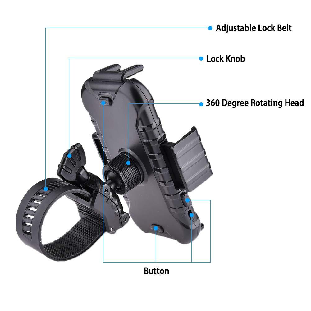 WZTO Soporte Movil Bicicleta, Universal Soporte de Celular para Bicicleta, Motocicleta y Carreola, Rotación de 360°, Sostenible, Soporte para iPhone XS, ...