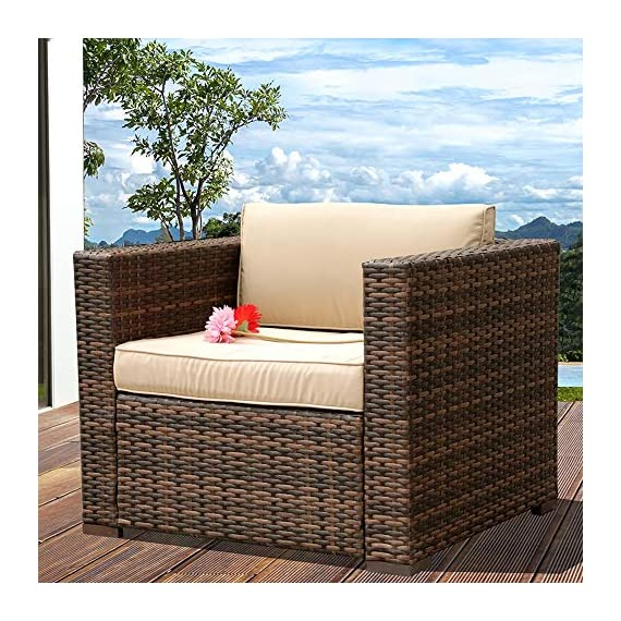 PATIOROMA Outdoor Furniture Sectional Sofa Set (7-Piece Set) All-Weather Brown Wicker with Beige Seat Cushions &Glass Coffee Table| Patio, Backyard, Pool| Steel Frame -  - patio-furniture, patio, conversation-sets - 61G3yLl3RRL. SS570  -