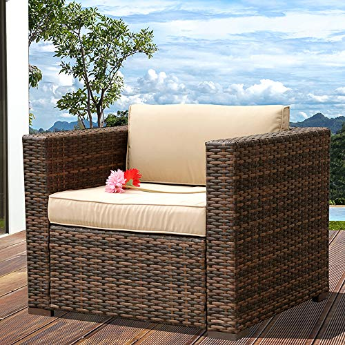 Patiorama Wicker Single Chair, All Weather Brown PE Wicker Sectional Sofa Chair, Additional Seats for Sectional Sofa(B07CVMRFZY/B07CVMW435), Beige Removable Cushions,Steel Frame