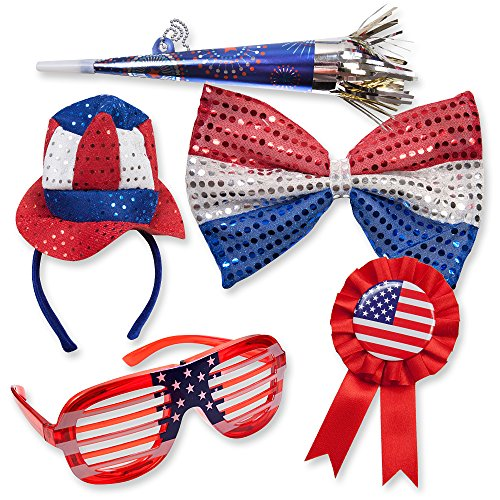 4th of July American Flag Theme Patriotic Kids Party Favor Supplies Shutter Shade Sunglasses Giant Bow Tie Award Ribbon Pin Uncle Sam Hat Headband & Horn USA Dress up Decor Accessory 5 Piece Bulk Pack - 6 Pack Beer Costume