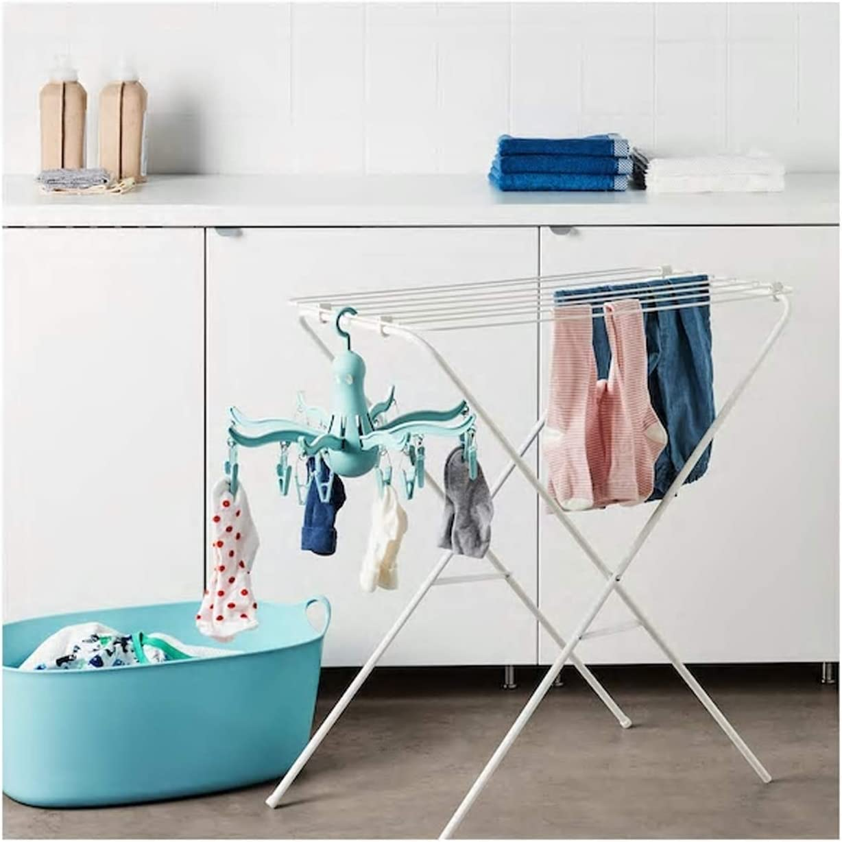 PRESSA Hanging dryer 16 clothes pegs turquoise