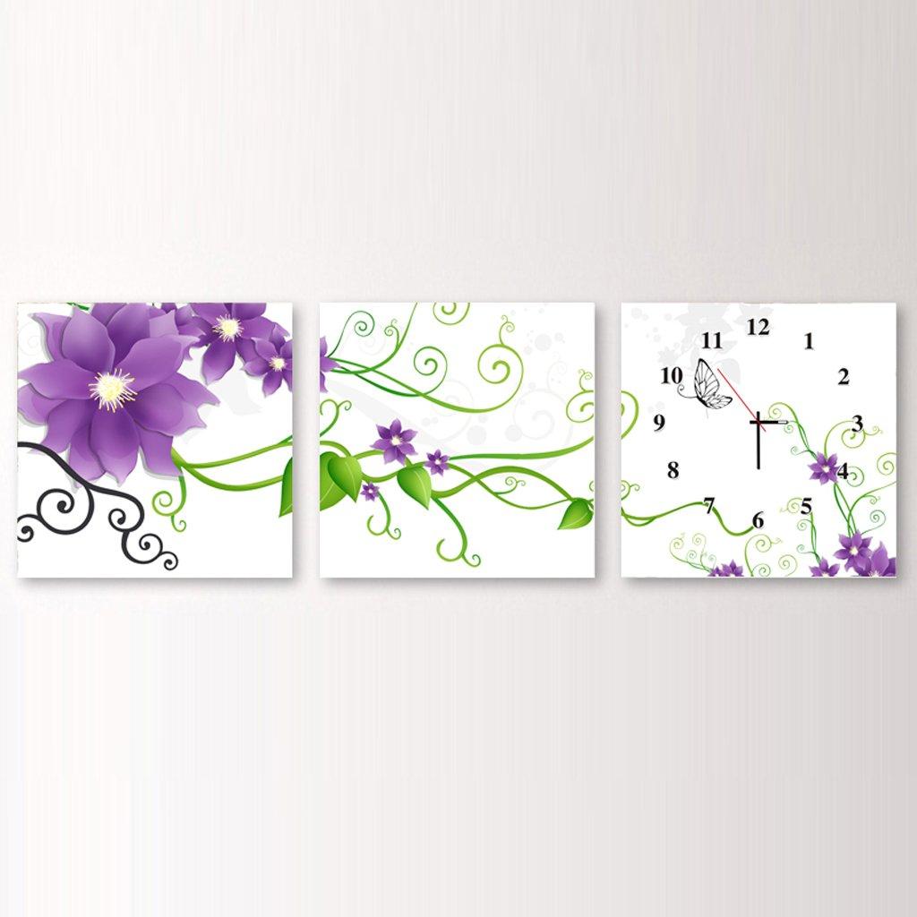 装飾的な背景クリエイティブアート絵画ウォールクロックアートマイクロフレームクリスタルクロックトリプル吊りフレームレス絵画のリビングルームダイニングルーム、3つの部分のための水平なバージョン (サイズ さいず : 60 cm 60 cm) B07DS539GG 60 cm 60 cm 60 cm 60 cm