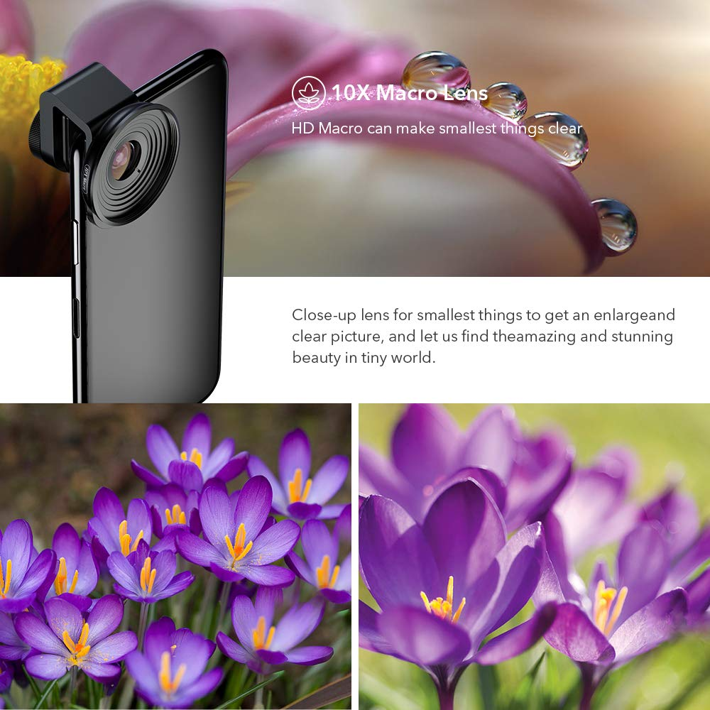 Apexel【Updated Version HD Phone Lens Kit-170/°Super Fisheye Wide Angle,10X Macro Lens,110/° Wide Angle2.0X Zoom Telephoto,195/°Fisheye Lens for iPhone XR//XS//XS MAX//X//8 7 6 Plus,Android,Samsung