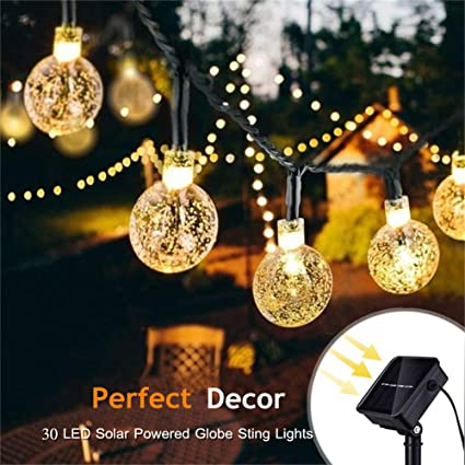 pretty nice 40575 acf9e Solar String Lights 2-Pack 30 LED 19.8ft Globe Outdoor Waterproof Crystal  Ball Christmas Decoration Lights Solar Patio Lights Decorative for Xmas  Tree ...