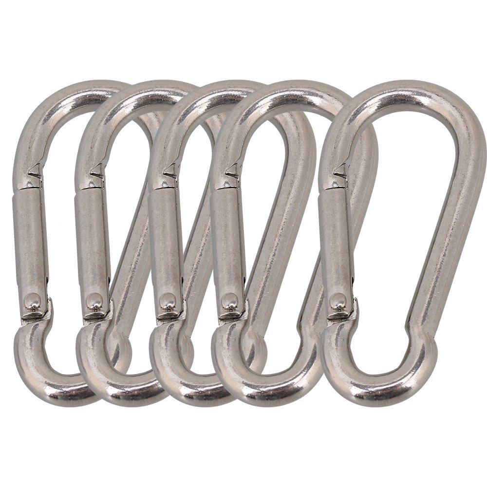CNBTR Silver 304 Stainless Steel Grade Heavy Duty Spring Snap Hook Carabiner Pack of 5 (M5 x 50mm) yqltd