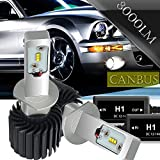 AUSI H1 8000LM 6500K Led Headlight Bulbs PHILIPS Chips Conversion Kit W/ Anti Flicker Error Free Canbus Decoders HID or Halogen Headlight Replacement for Volvo Mercedes Benz Jaguar BMW Mitsubishi