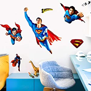 FANGLIAN DIY Removable Marvel Avengers Superman Wall Stickers .The Superman Wall Decals Cartoon 3D Wall Sticker Peel and Stick Wall Decals, for Kids Room Wall Decor Size(17.8inchex23.7inche)
